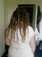 Real hair extensions on short dreads