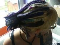 Blue synth dreads woven into Blond hair